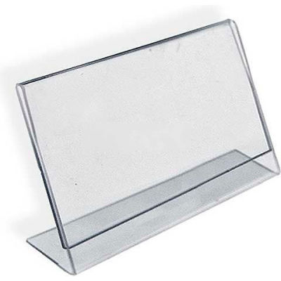 "Azar Displays 112711 Horizontal Slanted L-Shaped Acrylic Sign Holder, 14"" x 11"""
