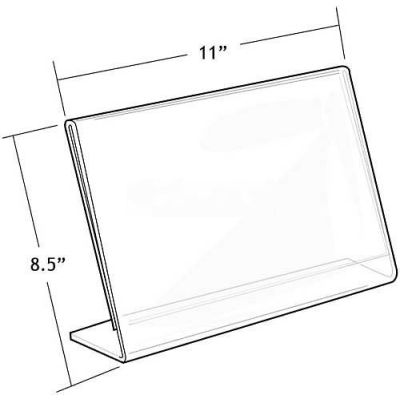 "Azar Displays 112715 Horizontal Slanted L-Shaped Acrylic Sign Holder, 11"" x 8.5"""