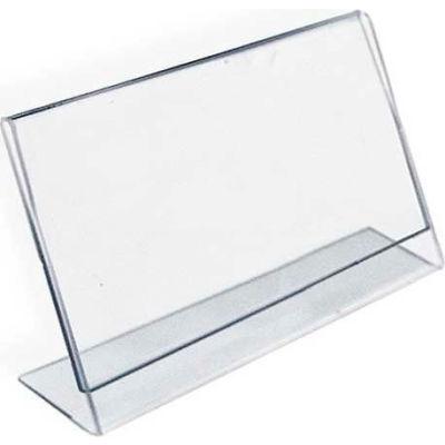 "Azar Displays 112727 Horizontal Slanted L-Shaped Acrylic Sign Holder, 6"" x 4"""