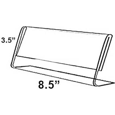 "Azar Displays 112761 Horizontal Slanted L-Shaped Acrylic Sign Holder, 8.5"" x 3.5"""