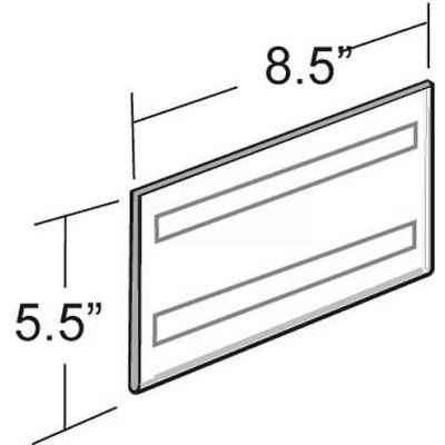 "Azar Displays 122030 Horizontal Wall Mount Sign Holder W/ Adhesive Tape, 8.5"" x 5.5"""