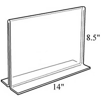 "Azar Displays 152707 Horizontal Double Sided Stand Up Sign Holder, 14"" x 8.5"", Acrylic"
