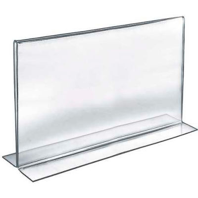 """Azar Displays 152711 Horizontal Double Sided Stand Up Sign Holder, 14"""" x 11"""", Acrylic"""