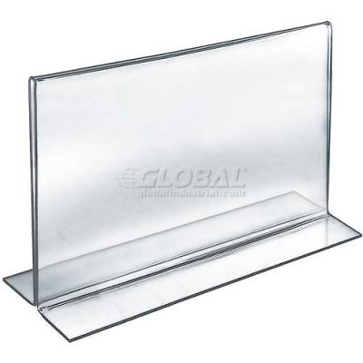 "Azar Displays 152713 Horizontal Double Sided Stand Up Sign Holder, 12"" x 9"", Acrylic"