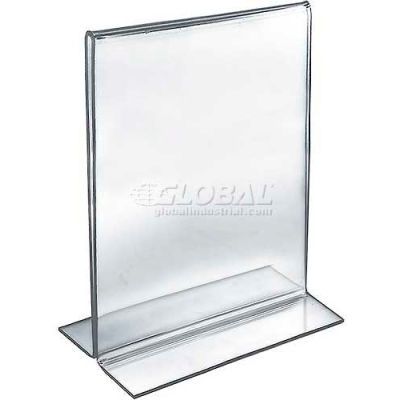 """Azar Displays 152714 Vertical Double Sided Stand Up Sign Holder, 8.5"""" x 11"""", Acrylic"""