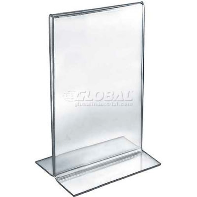 "Azar Displays 152716 Vertical Double Sided Stand Up Sign Holder, 7"" x 11"", Acrylic"