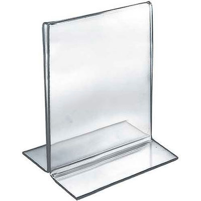 """Azar Displays 152720 Vertical Double Sided Stand Up Sign Holder, 5.5"""" x 7"""", Acrylic"""