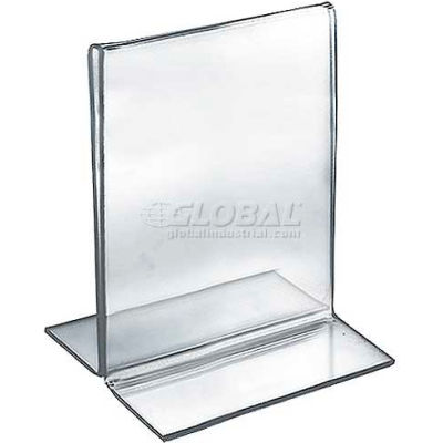 """Azar Displays 152724 Vertical Double Sided Stand Up Sign Holder, 5"""" x 6"""", Acrylic"""