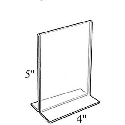 """Azar Displays 152729 Vertical Double Sided Stand Up Sign Holder, 4"""" x 5"""", Acrylic"""