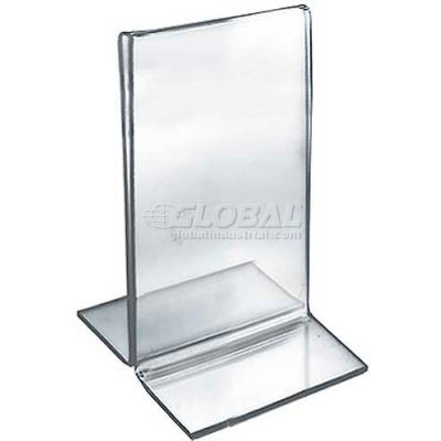 "Azar Displays 152731 Vertical Double Sided Stand Up Sign Holder, 3.5"" x 5"", Acrylic"