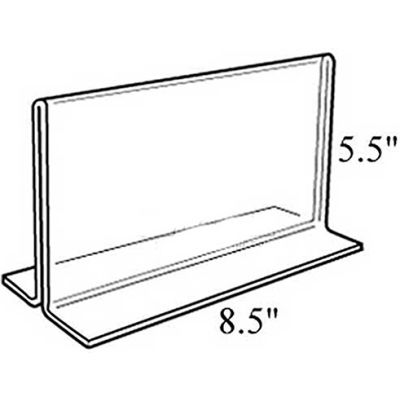 """Azar Displays 152734 Horiz.l Double Sided Stand Up Sign Holder, 8.5"""" x 5.5"""", Acrylic"""