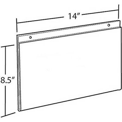 "Azar Displays 162706 Horizontal Wall Mount Sign Holder, 14"" x 8.5"", Acrylic"