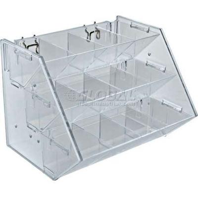"Azar Displays 223012 12-Compartment Tray For Pegboard/Slatwall Tray, 11.25"" x 9"", Acrylic ,1 Piece"