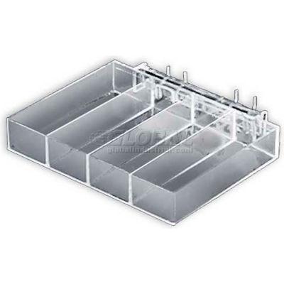 "Azar Displays 225544 4-Compartment Tray For Pegboard/Slatwall, 9.375"" x 1.5"", Acrylic"