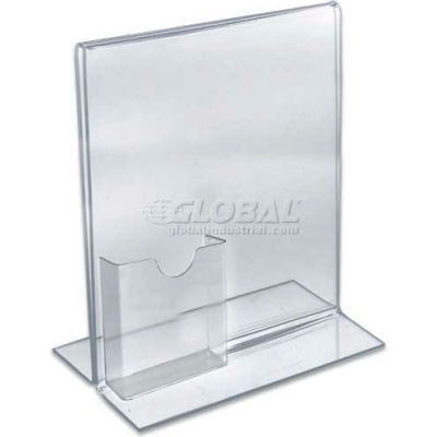 """Azar Displays 252045 Vertical Stand Up Sign Holder W/ Brochure Holder, 8.5"""" x 11"""""""