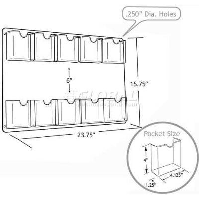 "Azar Displays 252069 10-Pocket Wall Mount Brochure Holder, 23.75"" x 15.75"""