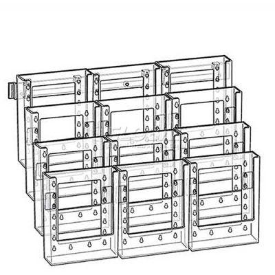 "Azar Displays 252323 12-Pocket Bi-Fold Size Wall Mount Display, 19"" x 15"", Acrylic ,1 Piece"
