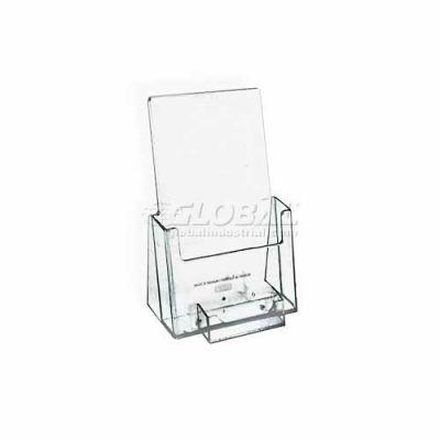 "Azar Displays 252922 Tri-Fold Brochure Holder W/ Business Card Pocket, 4"" x 7.25"""