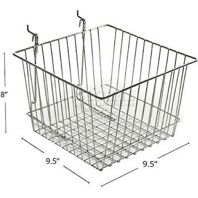 "Azar Displays 300622 Chrome Wire Basket, 8"" High, Metal"