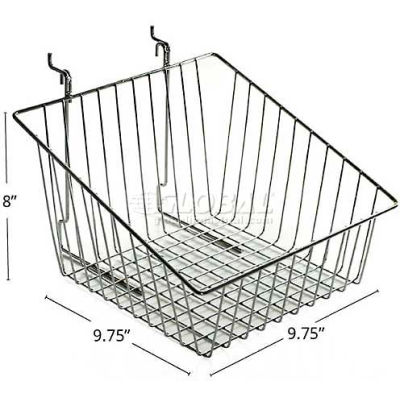 "Azar Displays 300623 Sloped Chrome Wire Basket, 8"" High, Metal"