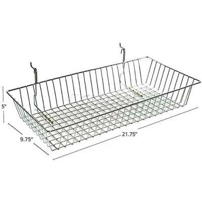 "Azar Displays 300625 Chrome Wire Basket, 5"" High, Metal"