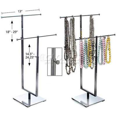 "Azar Displays 300652 Adjustable Double T-Bar Necklace Display, 13"" x 29"", Metal ,1 Piece"