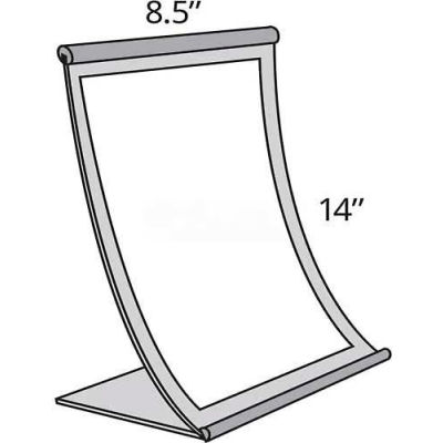 "Azar Displays 300882 Curved Countertop Sign Holder, 8.5"" x 14"", Metal ,1 Piece"