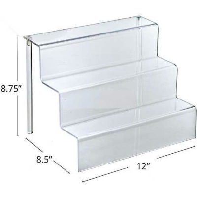 "Azar Displays 326043 3-Tier Countertop Step Display, 12"" x 8.75"", Acrylic"