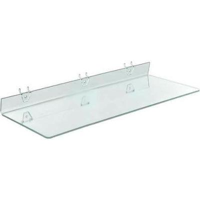 """Azar Displays 556008 Acrylic Shelf For Pegboard/Slatwall, 24"""" x 2"""", Clear"""