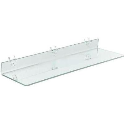 """Azar Displays 556009 Acrylic Shelf For Pegboard/Slatwall, 24"""" x 2"""", Clear"""