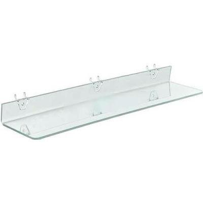 """Azar Displays 556010 Acrylic Shelf For Pegboard/Slatwall, 24"""" x 2"""", Clear"""