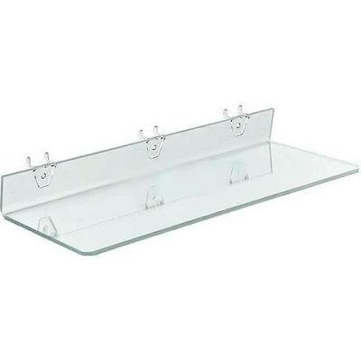 """Azar Displays 556012 Acrylic Shelf For Pegboard/Slatwall, 20"""" x 2"""", Clear"""