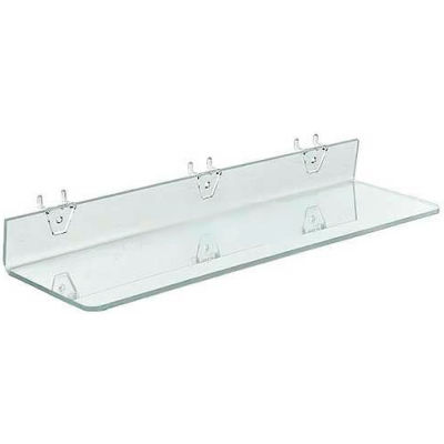 "Azar Displays 556013 Acrylic Shelf For Pegboard/Slatwall, 20"" x 2"", Clear"
