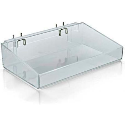 "Azar Displays 556085 12"" Wide Open Tray, 3"" High, Clear"