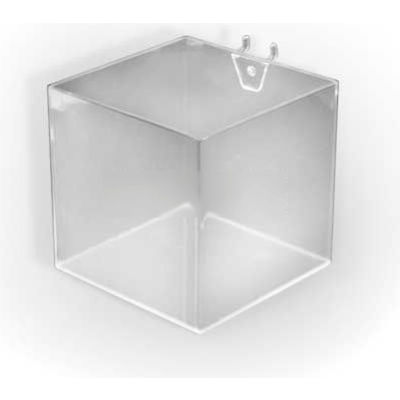 "Azar Displays 556107 5"" Wide Cube Bin For Pegboard/Slatwall, Acrylic, Clear"