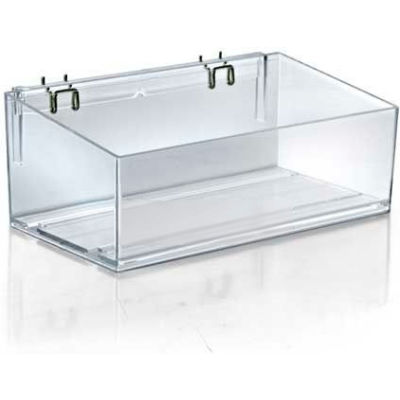"Azar Displays 556113 Acrylic Divider Bin For Pegboard/Countertop, 13.5"" x 4"", Clear ,1 Piece"