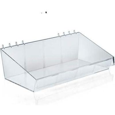 "Azar Displays 556115 Large Acrylic Divider Bin For Pegboard/Slatwall, 13"" x 4"", Clear"