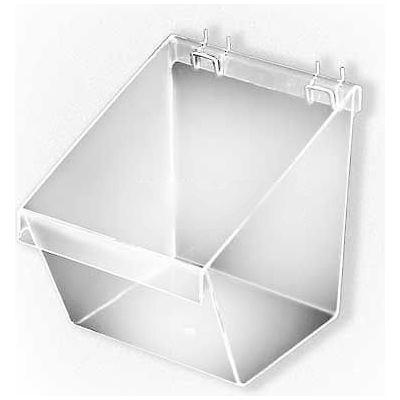 "Azar Displays 556118 Large Bucket For Pegboard/Slatwall, 7.5"" x 9"", Clear"