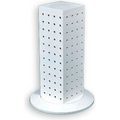 """Azar Displays 700220-WHT 12"""" Pegboard Revolving Countertop Display, 4-Sided, White ,1 Piece"""