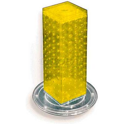 "Azar Displays 700220-YEL 12"" Pegboard Revolving Countertop Display, 4-Sided, Yellow ,1 Piece"
