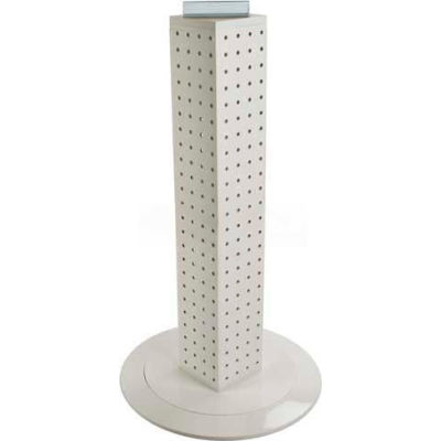 "Azar Displays 700222-WHT 24"" Pegboard Revolving Countertop Display, 4-Sided, White Solid ,1 Piece"