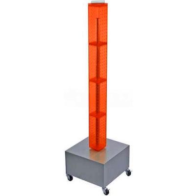 "Azar Displays 700224-ORG 48"" Pegboard Rolling Floor Display, 4-Sided, Orange Translucent ,1 Piece"