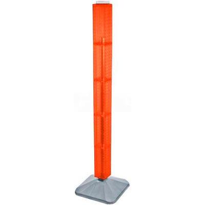 "Azar Displays 700225-ORG 48"" Pegboard Revolving Floor Display, 4-Sided, Orange Translucent ,1 Piece"