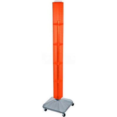 "Azar Displays 700226-ORG 60"" Pegboard Rolling Floor Display, 4-Sided, Orange Translucent ,1 Piece"