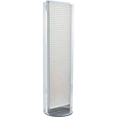 """Azar Displays 700256-WHT, Pegboard Floor Stand W/5"""" C Channel Sliding, 16""""W x 60""""H, WH, 1 Pc"""
