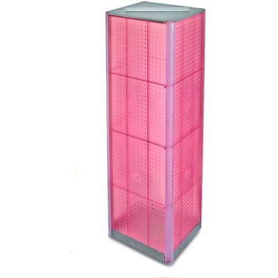 """Azar Displays 700405-PNK Four-Sided Pegboard Spinning Floor Display, 16"""" x 60"""", Pink ,1 Piece"""