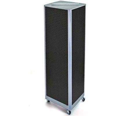 "Azar Displays 700406-BLK Four-Sided Spinning Pegboard Floor Display W/ Wheels, 16"" x 60"", Black"
