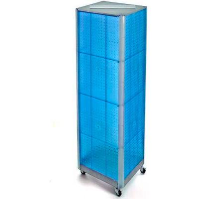 """Azar Displays 700406-BLU Four-Sided Spinning Pegboard Floor Display W/ Wheels, 16"""" x 60"""", Blue"""