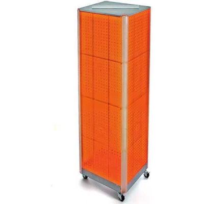 """Azar Displays 700406-ORG Four-Sided Spinning Pegboard Floor Display W/ Wheels, 16"""" x 60"""", Orange"""