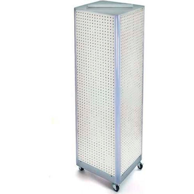 """Azar Displays 700406-WHT Four-Sided Spinning Pegboard Floor Display W/ Wheels, 16"""" x 60"""", White"""